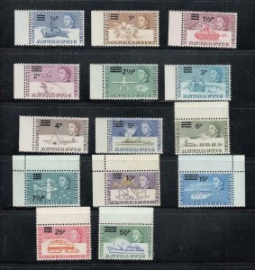 BRITISH ANTARCTIC TERRITORY # 25-38 VF-MNH SURCHARGED CAT VALUE $133+