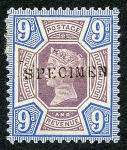 SG209s 9d Jubilee Opt SPECIMEN M/Mint (hinge remainder)