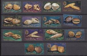 J28392, 1974-5 cook islands short set mnh #381-394 sea shells