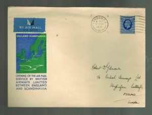 1936 England First Flight Cover via to Malmo Sweden FFC Imperial Airways