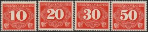 Stamp Germany Poland General Gov't Porto Mi 01-4 Sc NL1-4 1940 WWII Reich War MH