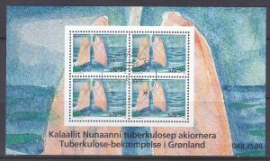 Greenland B33 Used 2008 Fight Against Tuberculosis FDC Souvenir Sheet of 4