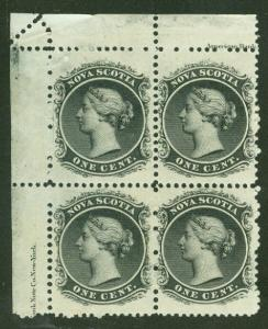 NOVA SCOTIA #8 1¢ black, Inscription Block of 4, og, NH