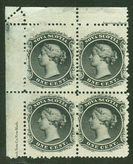 NOVA SCOTIA #8 1¢ black, Inscription Block of 4, og, NH