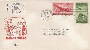 C32 5c SKYMASTER AIR MAIL - Brenn WWII patriotic w/ Iwo Jima stamp