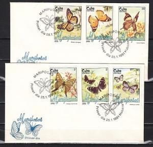 Cuba, Scott cat. 3287-3292. Butterflies issue. 2 First Day Covers. ^