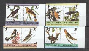 LED09 IMPERF MONTSERRAT BIRDS FAUNA LEADERS OF THE WORLD SET MNH