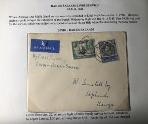1936 Lindi Kenya British KUT Return Flight Airmail Cover To Uplands