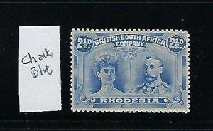 RHODESIA SCOTT #104 1910 DOUBLE HEAD 2 1/2D (ULTRA)  PERF 14- MINT HINGED