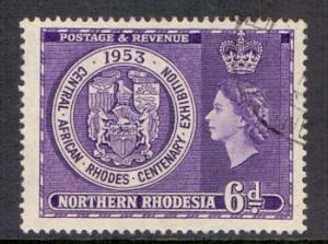 Northern Rhodesia  1953  used 6d.  Rhodes centenary exhibition