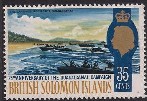 British Solomon Islands 1967 QE2 35ct Pacific War Umm SG 161 ( L1223 )