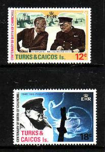 Turks & Caicos Island MNH 297-8 Winston Churchill 1974