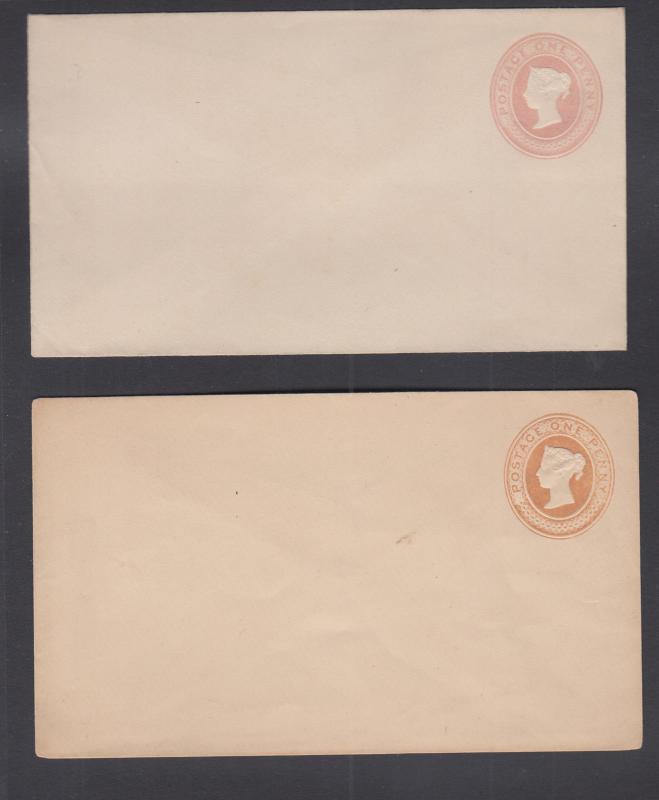 Great Britain H&G B9h, B9k mint 1881-1883 1p Queen Victoria Envelopes