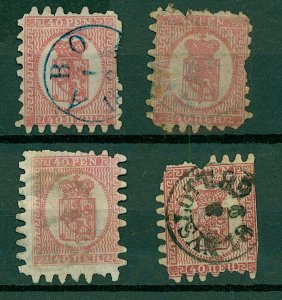 Finland 1866 40p pink Arms Roul sg40 cv£450+ (4v) Mixed Condition Space Stamps