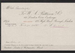 london 1899 corn exchange invoice and receipt  ref 7945