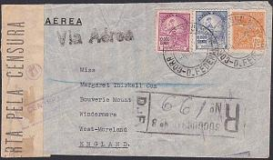 BRAZIL 1938 (Pre WW2) Censor registered airmail cover to UK................87792