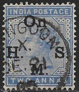 INDIA USED IN BURMA 1883-87 2a QV OFFICIAL Sc O29 VFU RANGOON Postmark