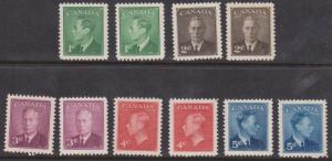 Canada Scott #284-8 & 289-93 Mint KGVI With & Without Postes-Postage
