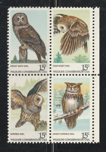 USA stamp, Scott#1760-1763, mint, hinged, block of four, OWLS,
