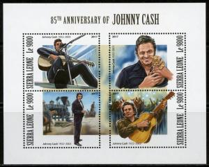 SIERRA LEONE  2017 85th BIRTH  OF JOHNNY CASH  SHEET MINT NH