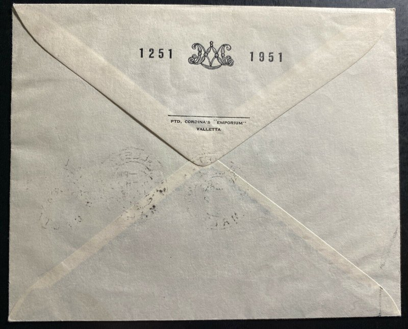 1951 Valleta Malta First Day Cover 7th Century Of The Holy Scapular