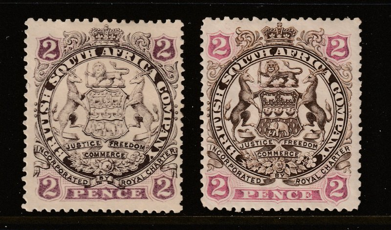 Rhodesia x 2 x 2d MH from 1896 &97