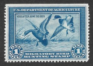 Doyle's_Stamps: MNG 1934 $1 Duck Stamp w/NSE, Scott #RW1, cv $175