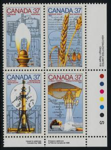 Canada 1209a BR Plate Block MNH Science & Technology, Wheat, Microscope