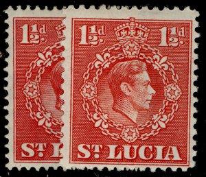 ST. LUCIA GVI SG130 + 130a, 1½d PERF VARIEITES, M MINT.