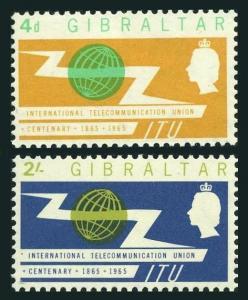 Gibraltar 167-168,MNH.Michel 169-170. ITU-100,1965.