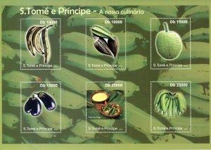Sao Tome & Principe Gastronomy Stamps 2010 MNH Cuisine Fruits Bananas 6v M/S