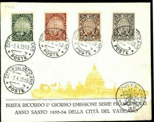 VATICAN First Day Cover *Holy Year* ILLUSTRATED FDC ST.PETER 1933{samwells} F84