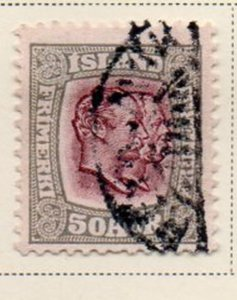 Iceland Sc 82 1907 50 aur gray & violet 2 Kings stamp used