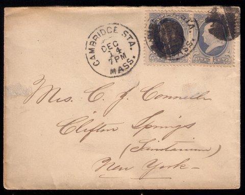 US Scott #156 Cambridge Sta.Mass 2 Stamp Postal Cover Very Good Condition 1873