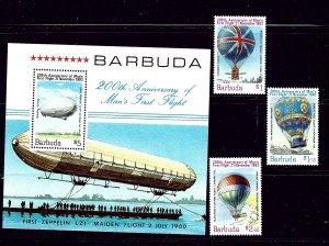 Barbuda 578-81 MNH 1983 Manned Flight Bicentennial