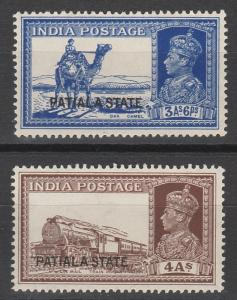 PATIALA 1937 KGVI PICTORIAL 3A6P AND 4A