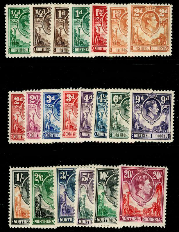 NORTHERN RHODESIA SG25-45, COMPLETE SET, NH MINT. Cat £250.