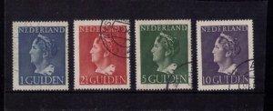 NETHERLANDS MI 453-456 1946 Queen Wilhelmina USED SET Large Size CAT. $90.00
