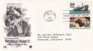 1991, A World at War-WW2-1941, Art Craft/PCS, FDC (E11348)