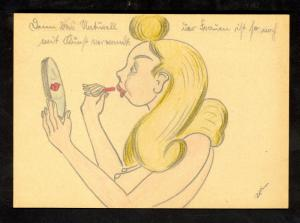 GERMANY WW2 FELDPOST CARD Artist Drawing of NUDE Blonde Girl Applying LIPSTICK