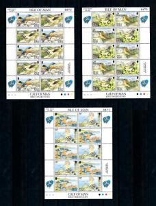 [79030] Isle of Man 1994 Birds Vögel Oiseaux 3 Full Sheets MNH