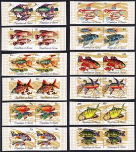 Guinea Fish 12 imperf pairs SG#729-740 MI#571-582A