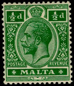 MALTA SG71a, ½d deep green, LH MINT.