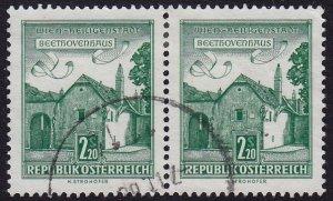Austria - 1962 - Scott #697 - used pair - Beethoven House
