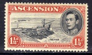Ascension Island 1944 KGV1 1 1/2d Black & Vermilion MM SG 40b ( R922 )