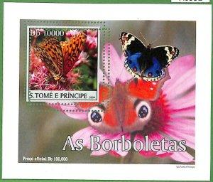 A0552 - S. TOME' & PRINCIPE -  ERROR  MISSPERF SHEET -  Butterflies  2004