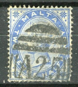 MALTA; 1881 early classic QV Crown CA issue fine used 2.5d. value