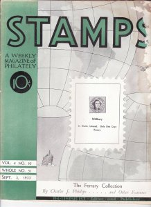Stamps Weekly Magazine of Philately September 2, 1933 Stamp Collecting Magazine