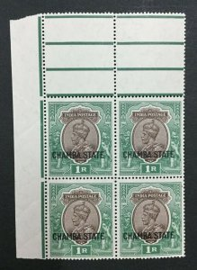 MOMEN: INDIA CHAMBA SG #75 BLOCK MINT OG NH LOT #193898-2326