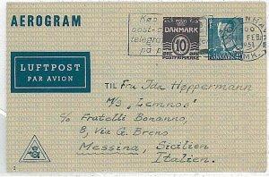17211 - DENMARK - POSTAL HISTORY - Postal Stationery AEROGRAMME to ITALY - 1951